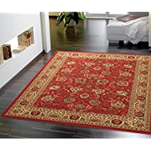 """Ottomanson Ottohome Persian Style Rug Oriental Rugs, 8'2""""W x 9'10""""L with Non-Skid Rubber Backing, Red Area"""