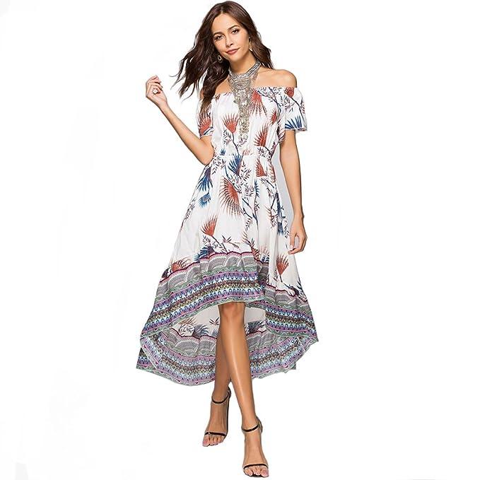 adce93c36b ENbeautter 2018 Women s Boho Sexy Loose Off Shoulder Irregular Long Dress