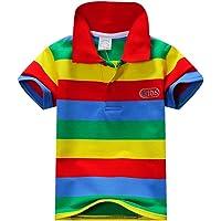 ESHOO Camiseta de manga corta a rayas para niños y niñas