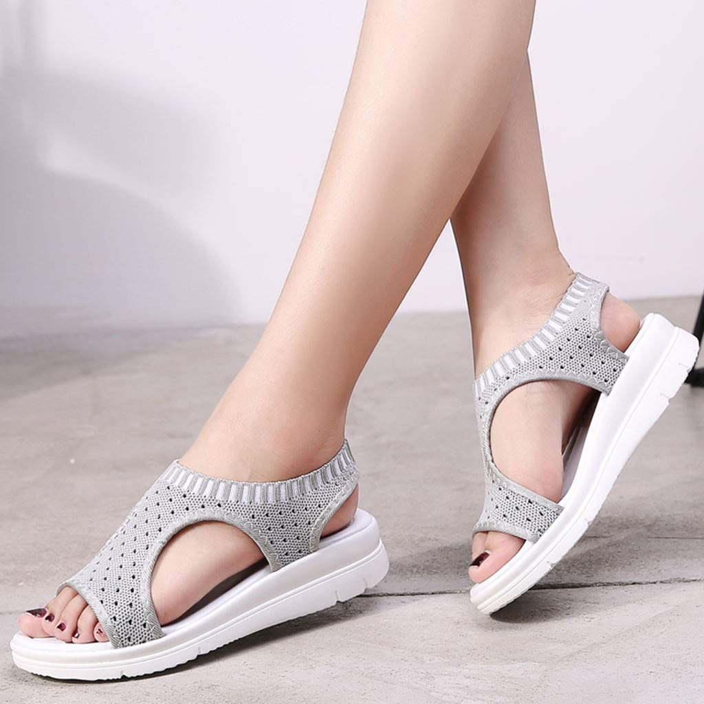Sanyyanlsy Woman Cotton Fabric Breathable Wedge Sandals Summer Slip On Hollow-Out Sandals Striped Casual Lady Shoes Gray by Sanyyanlsy