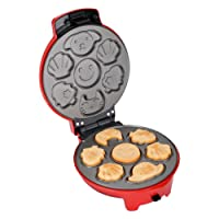 Finether Gofrera 3 en 1, Máquina para Hacer Gofres Antiadherente, Waffle Maker Regurable, Gofrera Sandwichera, Placa 19cm, 700 W, Rojo