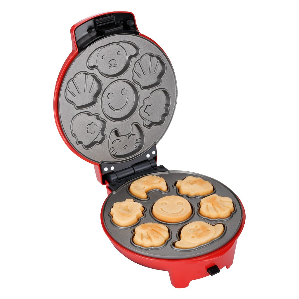 Finether Waffle Maker Machine, Multi-Plate Waffle Iron, Mini 3-in-1 Non-Stick Snack Maker Adjustable Temperature, Easy to Clean, Cord Wrap & Cool Touch Handle, Red by Finether (Image #2)