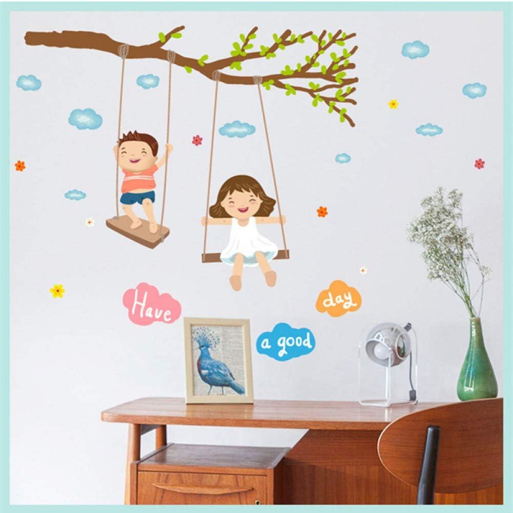 TAOZIAA Dibujos Animados Niño Y Niña Columpio Pared Pegatina Rama De Árbol Nubes Niños Habitación Infancia Decoración Pegatinas Imprimir Claramente Diy Calcomanías