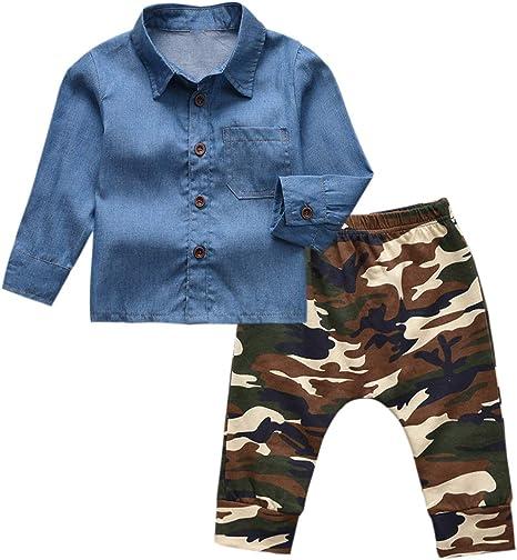 Chennie 1-5t niños niños Camisa de Manga Larga con Botones de Mezclilla Tops Pantalones de Camuflaje Conjunto de Ropa: Amazon.es: Deportes y aire libre