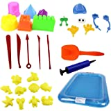AnkamalElec 30PCS Sand Molds Kit with Portable Sand Tray, Use with Kinetic Sand, Sands Alive, Brookstone Sand, Waba Sand, Moon Sand and All Other Molding Play Sand Brands (Sand not included)