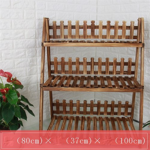 AIDELAI Solid Wood Simple Pastoral Flower Racks Living Room Balcony Decoration Multiple Layers Shelf Flower Pot Rack Patio Garden Pergolas ( Color : #10 ) by AIDELAI