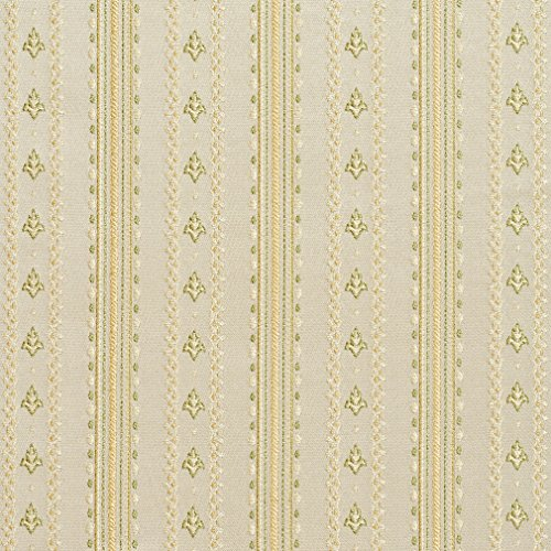 B0740D Gold and Light Green Stripes and Emblems Damask Brocade Upholstery Fabric By The Yard (Stripe Damask Upholstery)