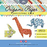 Origami Paper Adventure Pack - 120 Sheets - Traditional Japanese Folding Papers including Floral, Animal Prints, Aztec, Geometric - Create Flowers, Crane, Owl, Dragon, Animals - Origami Papers for Kid
