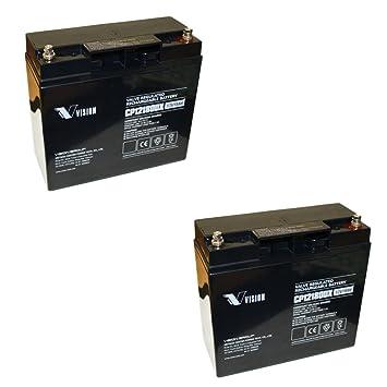 2 x Batería de plomo gel 12 V Tecnología AGM para ...