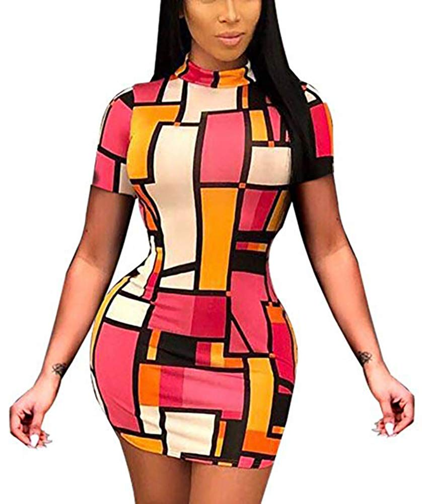 Women's Geometry Print Bodycon Dress - Short Sleeve Slim Midi Dress Clubwear Medium Red