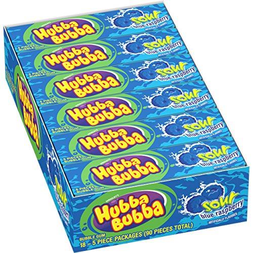 Hubba Bubba Sour Blue Raspberry Bubble Gum, 5 Piece (Pack of 18)