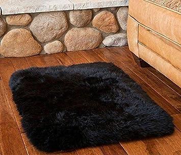 سجادة من الصوف الطبيعي من USTIDE ناعمة من جلد الأغنام كرسي / أريكة / سجادة سجادة مربعة خروف أسترالية سوداء 1.47 بوصة × 1.47 بوصة