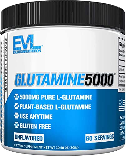Evlution Nutrition L-Glutamine 5000, 5g Pure L Glutamine Per Serving, Post Workout, Nitrogen Transporter, Immune Support, Vegan, Gluten-Free, Unflavored Powder 60 Servings