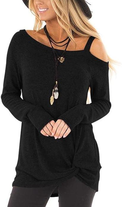 8988fbf251 YOINS Women Tops Crossed Front Plain One Shoulder Loose fit Long Sleeves  T-Shirt Black
