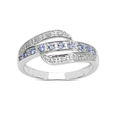 W STERLING SILVER TANZANITE /& DIAMOND CLUSTER ENGAGEMENT RING IN SIZES H