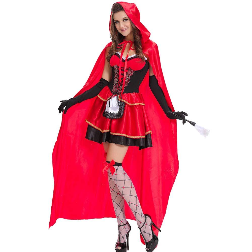 GIFT ZHIZHUXIA Costume Cosplay per Adulti Uniform Lady Cloak Queen Cappuccetto Rosso Maxi Dress Costume di Halloween Oggetti di Scena di Natale ( Colore   rosso , Dimensione   M )