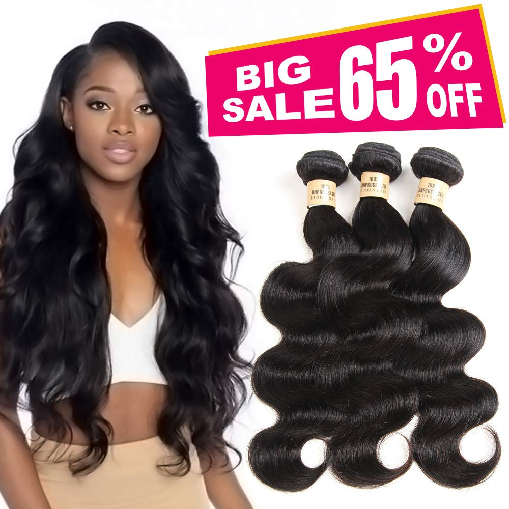 3 Bundles Deal Brazilian Human Hair Body Wave Hair Bundles Cheap Brazilian Wavy Hair Weave 100% Human Hair Extensions 8A Grade Natural Black Color (10 12 14) inch by VIOLET