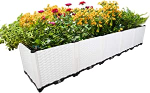 Hershii Garden Raised Bed Kits Rectangular Plastic Deepened Plant Containers Indoor Outdoor Vegetables Herbs Flowers Growing Planter Box - White - 76.77 X 15.35 X 14.96 Inches