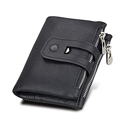 002b5928d038 Genuine Leather Men Wallet Small Men Wallets Double Zipper Hasp Male  Portomonee Short Coin Purse Carteira for