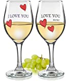 Love You More - I Love You, Love You More Wine Glasses - Set of 2 Romantic Wine Glasses - Hearts and Love Saying - Standard Clear 14oz Glass