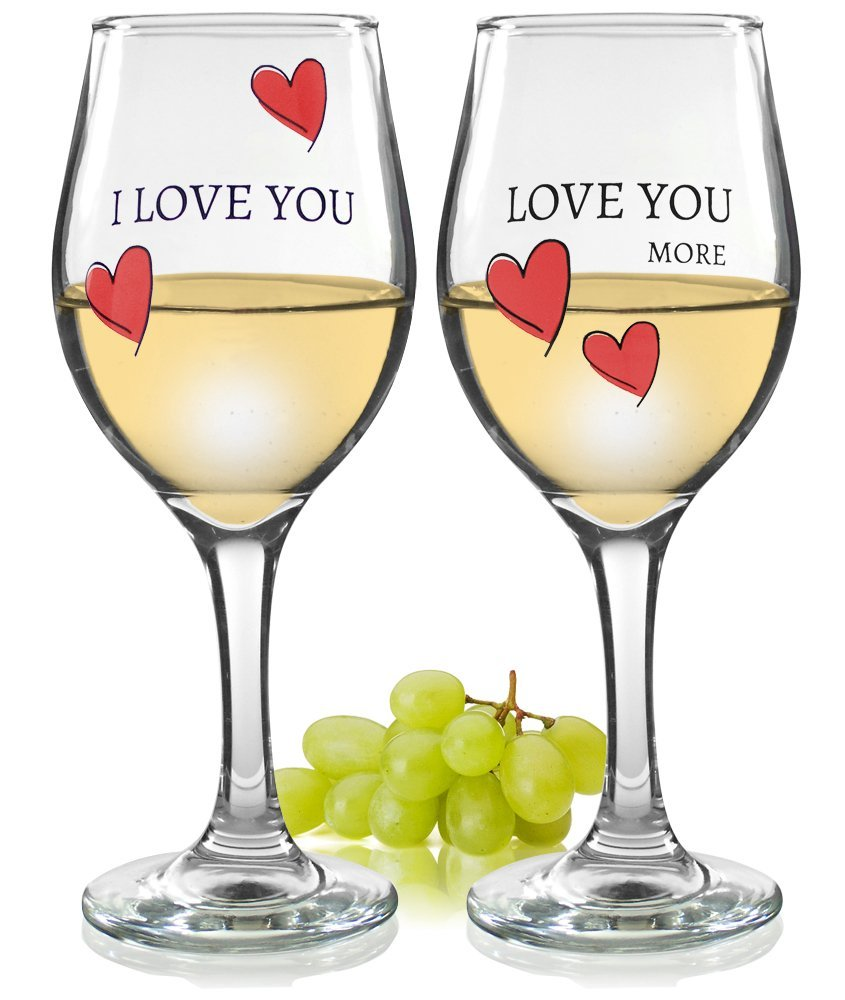 Valentine's Day Glasses - Love You More Wine Glasses - Set of 2