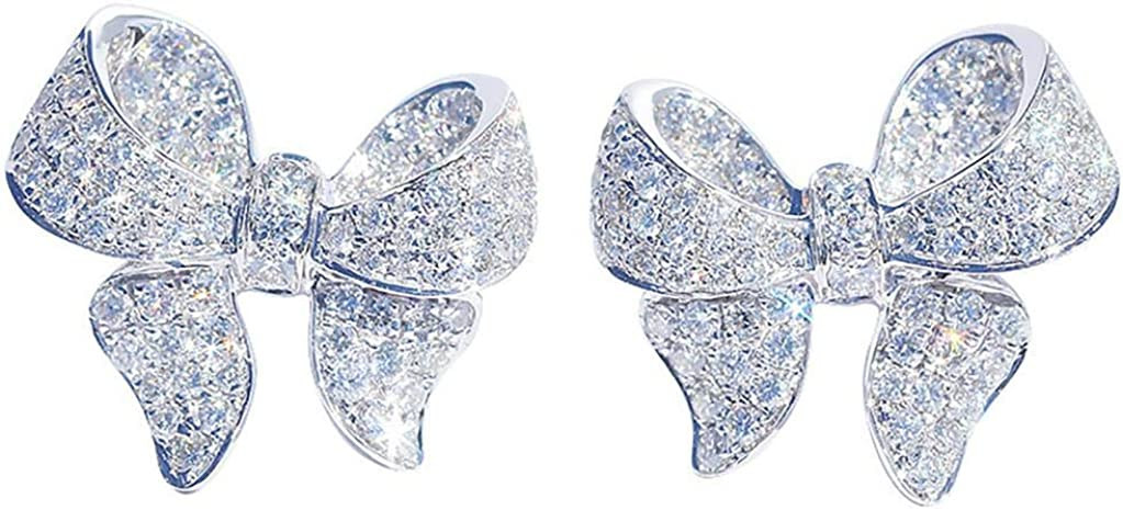 Huluob Pendientes de Lazo, Pendientes de Cobre Pendientes de joyería de Temperamento, Pendientes de Moda para Mujer, Pendiente de Damas de Moda de aleación de Perlas de Diamante