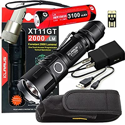 Klarus Upgraded XT11GT SUPER BUNDLE w/XT11GT LED Compact Rechargeable Tactical Flashlight, 18650 Battery, USB Cable, Lanyard, Holster, Pocket Clip, Car Charger, Wall Adapter, and USB Mini Light