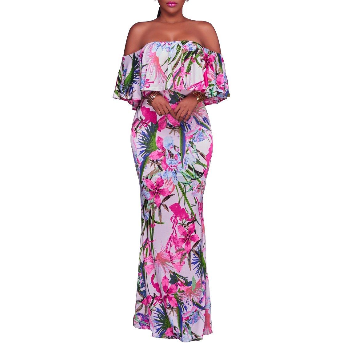Synker Damen Sommerkleid Blüte Drucken Cocktailkleid Schulterfrei Lang Abendkleid Partykleid Maxikleid