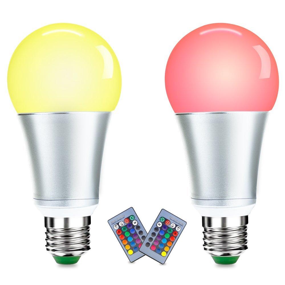 LUXJET LED Ampoules de couleur,10W E27 RGBW Ampoule Led,Changement de Couleur Télécommande, Dimmable RGB+lumière du jour Blanc(6500K)[Classe énergétique A+] (2er Pack)