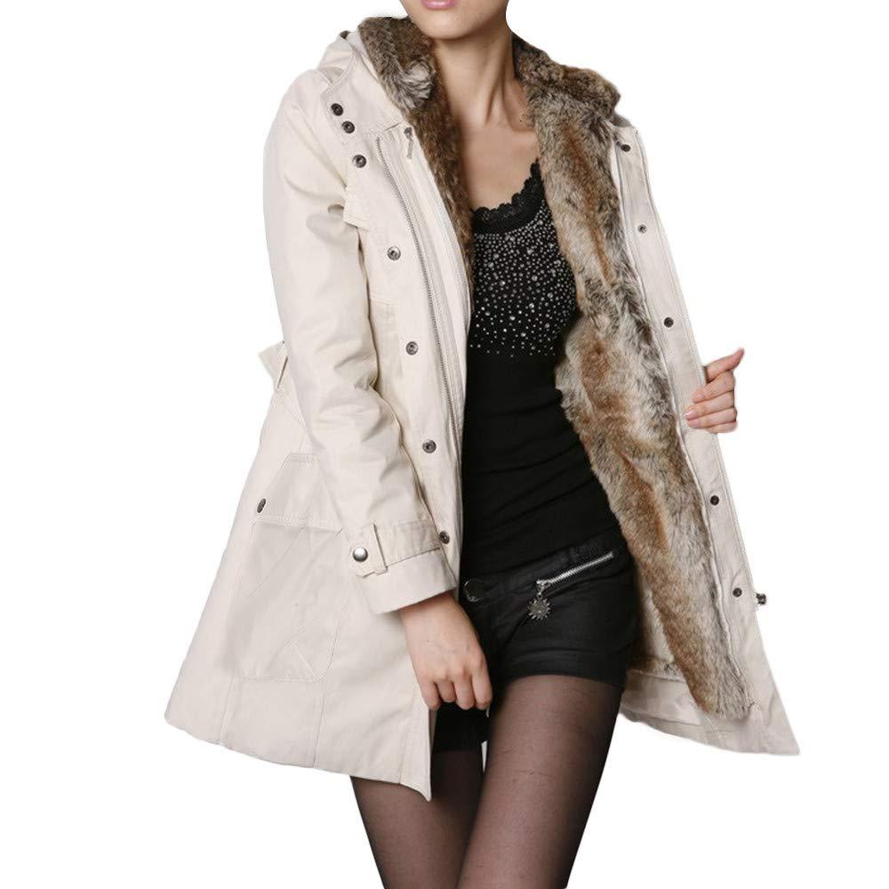 Beige kingf Ladies Fur Coat Warm Long Jacket Fur Collar Hooded Parka Winter Outwear
