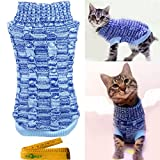 Casual Elegant Cat Dog Pet Sweater Turtleneck Knitted Knitwear Outerwear with Collar for Dogs & Cats Pets (S - Blue)