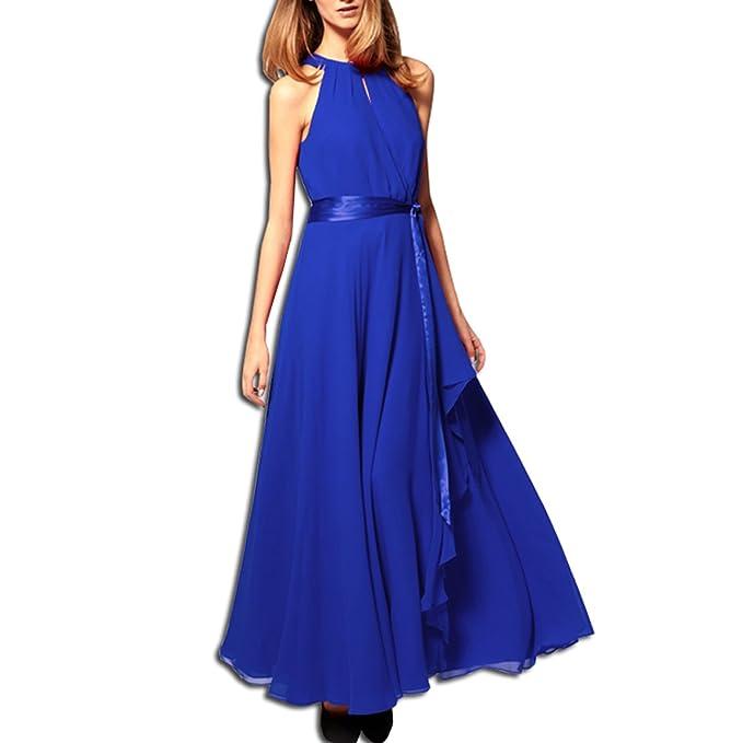 3448c5bd6a77 KAXIDY Vestiti Estivi Donna Vestiti da Sera Eleganti Vestito da Sera Lungo  (Blu)  Amazon.it  Abbigliamento