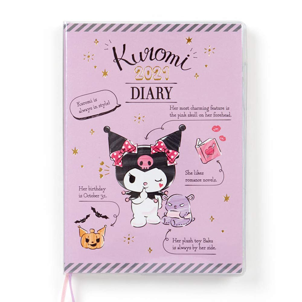 Kuromi bookmarked A6 diary 2021 Schedule planner Notebook Sanrio kawaii NEW ZJP
