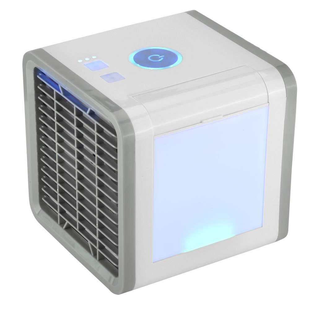 fosa Portable Air Conditioners, 3 in 1 Mini USB Personal Space Air Cooler Humidifier Purifier, 7 Colors LED Night Light Save Power Desktop Room Cooling Fan for Home Office Travel