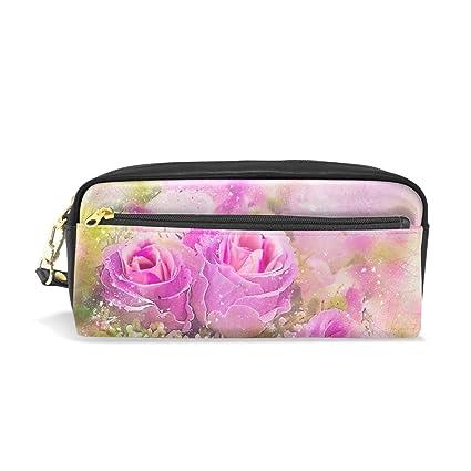 Estuche de piel para lápices, diseño de rosas: Amazon.es: Oficina ...
