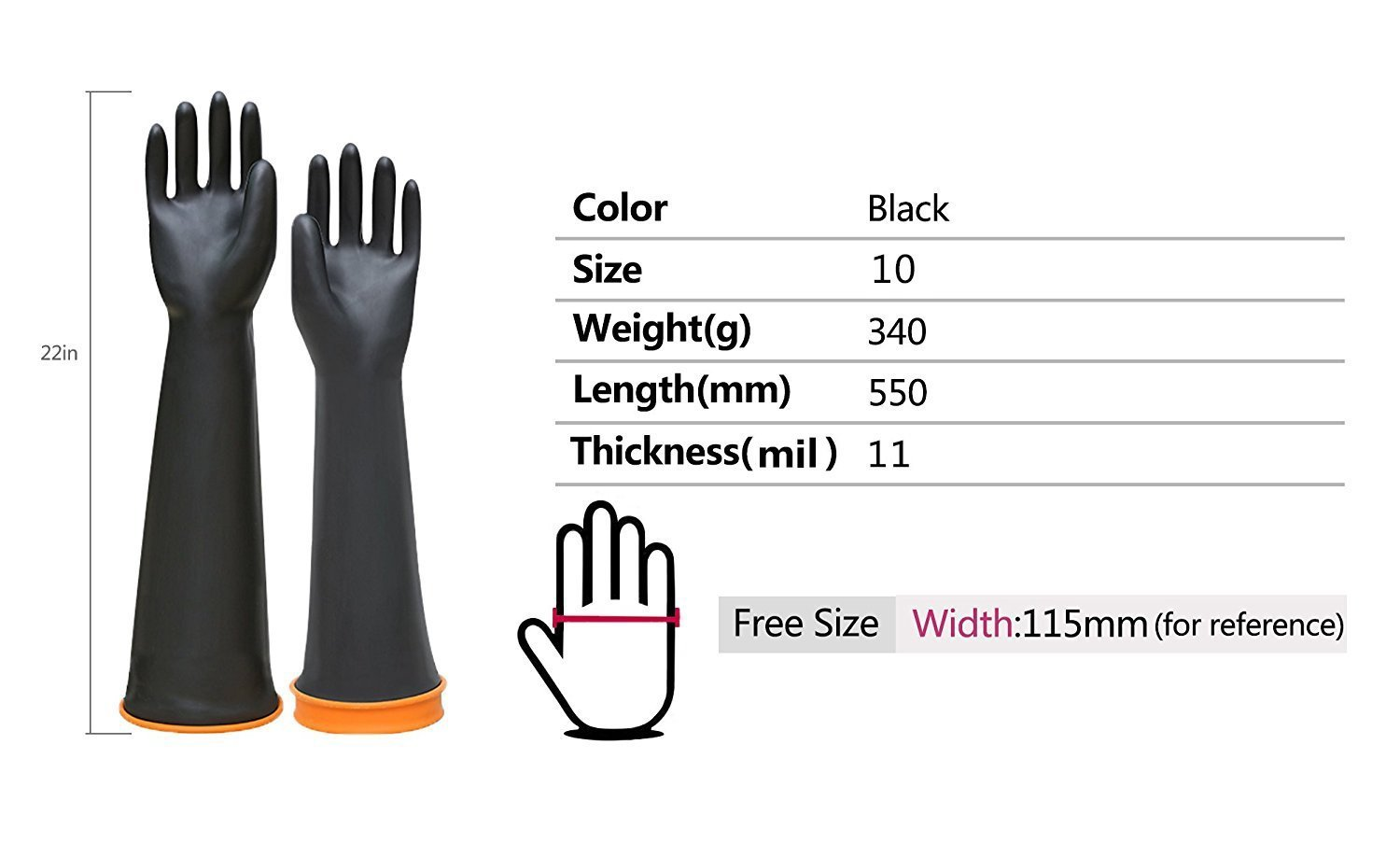 Double One Chemical Resistant Gloves,Safety Work Cleaning Protective Heavy Duty Industrial Gloves,Natural Latex Elbow Length 22'' Length Black 1 Pair Size 10 by DOUBLE ONE (Image #5)