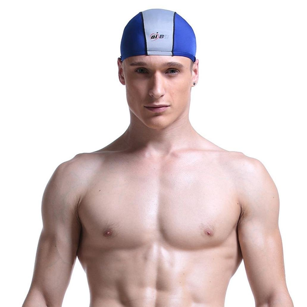 Men Swim Cap, SUKEQ Waterproof Premium Non Slip Swimming Cap (Blue)