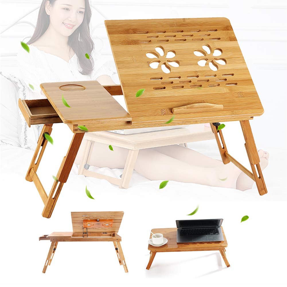 SAIPRO Adjustable Bamboo Laptop Desk Portable Breakfast Serving Bed Tray with Tilting Top Drawer