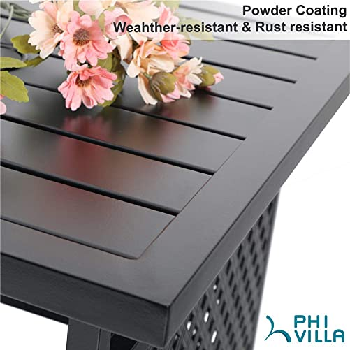 PHI VILLA Patio Umbrella Side Table 22 x22 Square Bistro Table for Outdoor Garden Pool with 1.57 Umbrella Hole