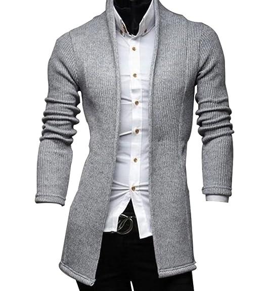 MISSMAO Hombre Clásico Cárdigan Chaqueta de Punto Suéter Blazer Jersey de Cuello de Chal: Amazon.es: Ropa y accesorios