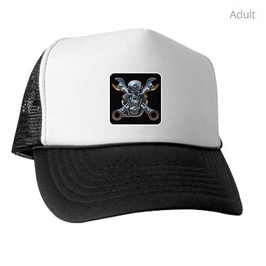 9a7921b004f Royal Lion Trucker Hat (Baseball Cap) Motorhead Skull Wrenches Gearhead -  Black and White