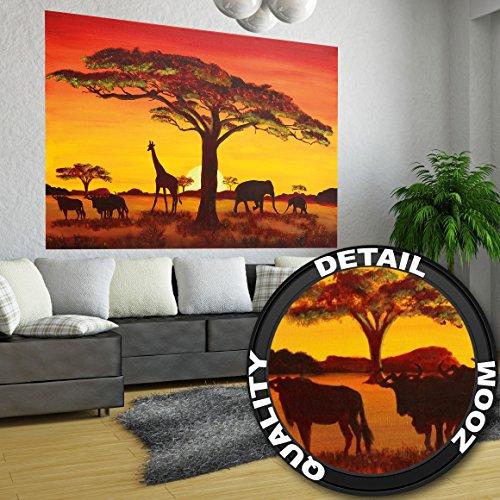 GREAT ART Wallpaper Sunset in Africa - Wall Decoration African Landscape Nature Poster Safari Design Serengeti Mural (82.7 Inch x 55 Inch)