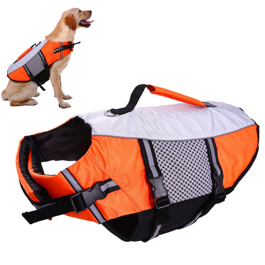 Dog Life Vest Jacket for Swimming Kayaking Boating Lifesaver Coat for Small Medium Large XL Dogs Pet Swimsuit Preserver Flotation Device Reflective Adjustable High Visibility Quick Release Lifeguards by IDOMIK