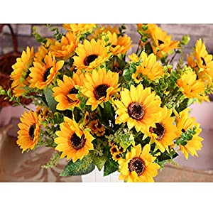 AmyHomie Artificial Sunflower Bouquet,7 Flowers Per Bunch, 2 Bunches Per Pack 86