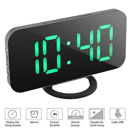 NEXGADGET Reloj Despertador Electrónico Digital Espejo LED Dual USB Puertos  Snooze Memoria Automática Reloj con Función ef228a0b5398
