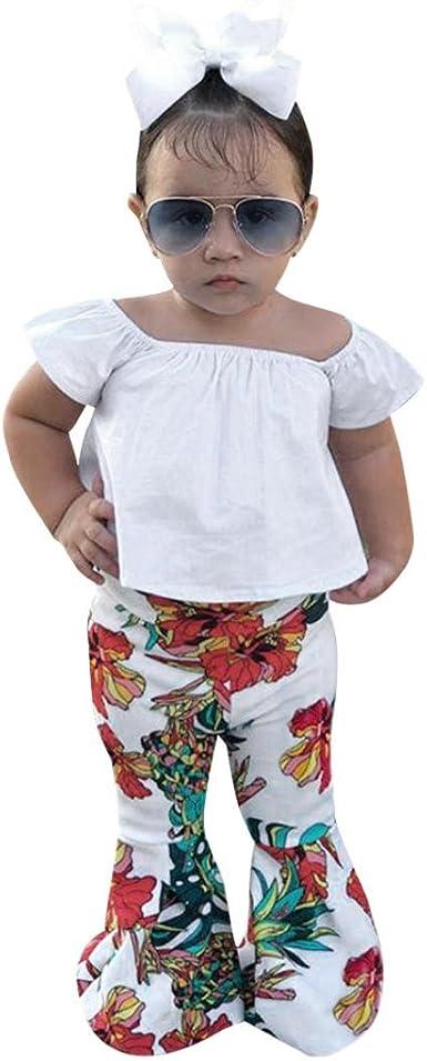 3PCS Toddler Kids Baby Girl Off Shoulder Floral Tops+Shorts Pants+Headband 1-4Y