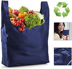 エコバッグ 折りたたみ ショッピングバッグ コンパクト 買い物バッグ レジ袋 軽量 大容量 丈夫 撥水加工 おしゃれ 男女兼用 (青い)