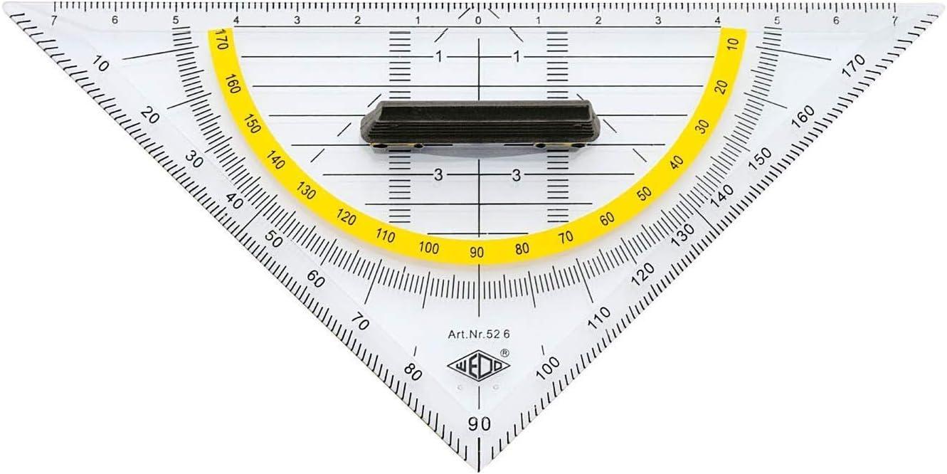transparent Tuschenoppen Hypotenuse abnehmbarer Griff Kunststoff Wedo 526 Geometrie Dreieck 16 cm Facetten