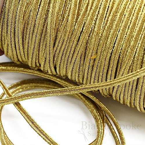 (ALIK 4mm Yellow Gold Bullion Soutache Braid: 5 Yards)
