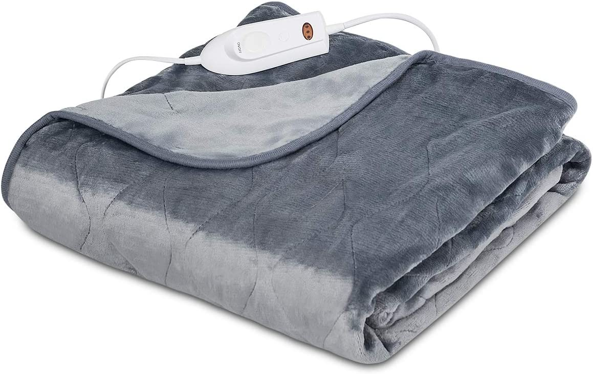 """Giantex Heated Blanket Electric Throw, 50"""" x 60"""" Flannel Heated Throw with 3 Heating Levels, 2 Hours Auto Off, Overheat Protection, Soft Electric Fast Heating Pad for Home & Office"""